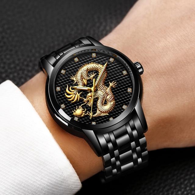LIGE Men's Luxury Gold Dragon Waterproof Stainless-Steel Quartz Watches 4