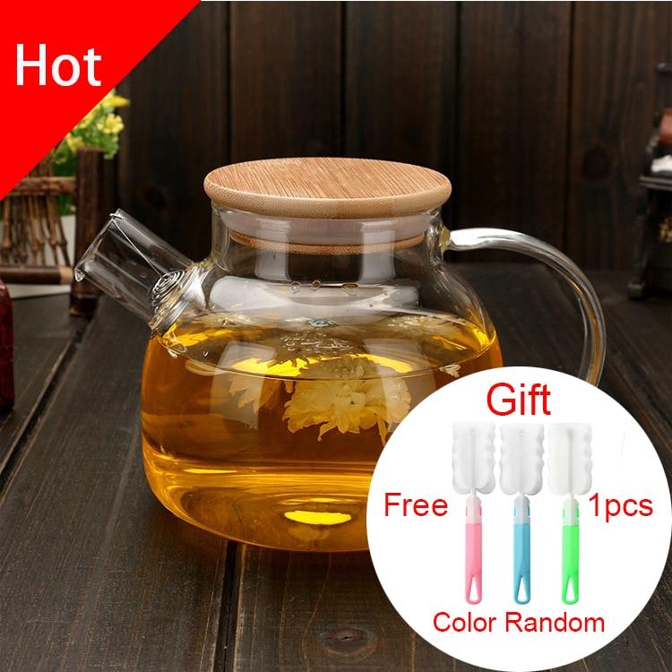 Bezpłatny shipping1000ML dużej pojemności przezroczysty żaroodporne wysokiej szkła borokrzemowego herbaty dzbanek z filtrem Kung Fu zestaw herbaty czajniczek