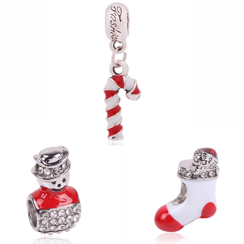 Cute Lovely Christmas Present Santa Claus Crystal Charm Beads Silver Color Fit Pandora Bracelet DIY Jewelry Accessories Set