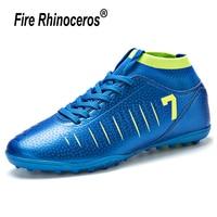 Men Sport Kids Soccer Boot Cr7 Women Sneakers Man Soccer Shoe Child Cleats Football Shoes High Ankle Futsal Court Male
