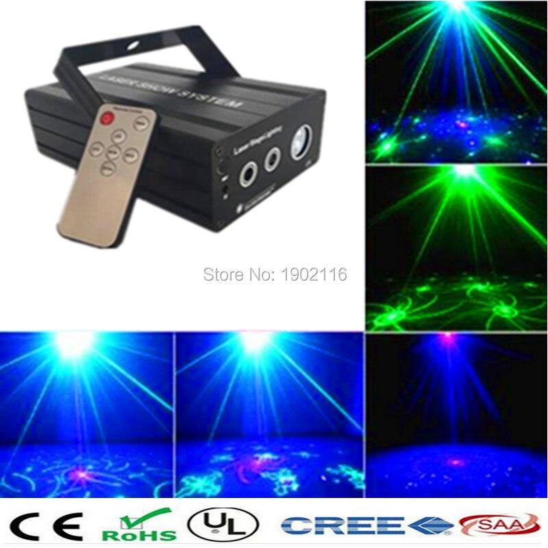 ФОТО IR Remote Mini 24 Gobo RG Led Blue Stage Laser Lighting Equipment Effect Disco DJ Light Home Party Lights luces discoteca