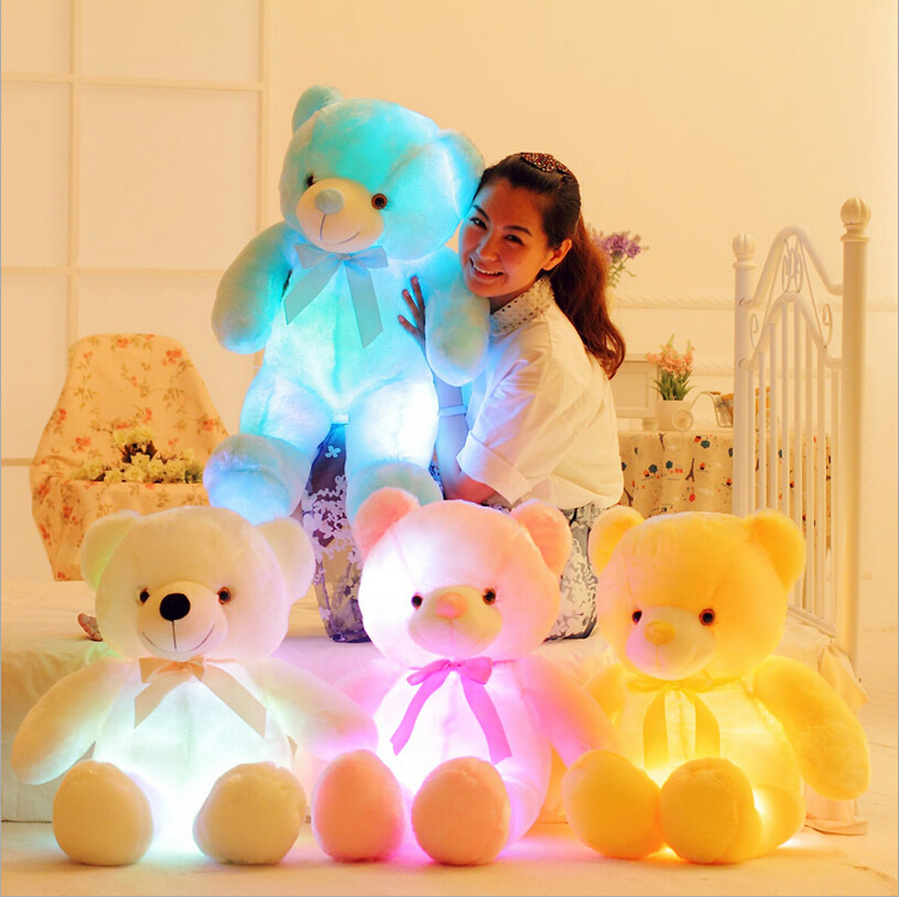 New hot  colorful glowing bear luminous plush toy for Girl Children's Baby Birthday Holiday Gift Send Kids Lovely Soft Toy glowing sneakers usb charging shoes lights up colorful led kids luminous sneakers glowing sneakers black led shoes for boys