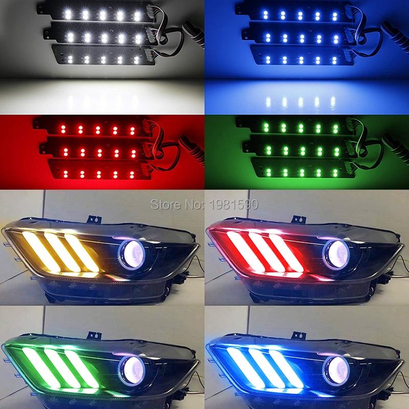 פורד 1SET RGBW LED DRL ערכות מנורה הדירקטוריון פורד מוסטנג 2,015--2,017 אורות רכב בשעות היום הפעלת אורות (2)
