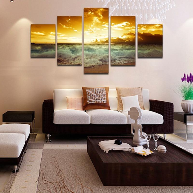 Okvir 5 plošče čudovita morska pokrajina platno tisk slikarstvo - Dekor za dom - Fotografija 5