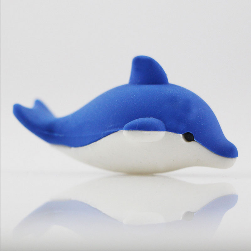 1X Cartoon Assemble Eraser Mini Dolphi Modelling Eraser Children Stationery Gift Prizes Kawaii School Office Supplies Papelaria