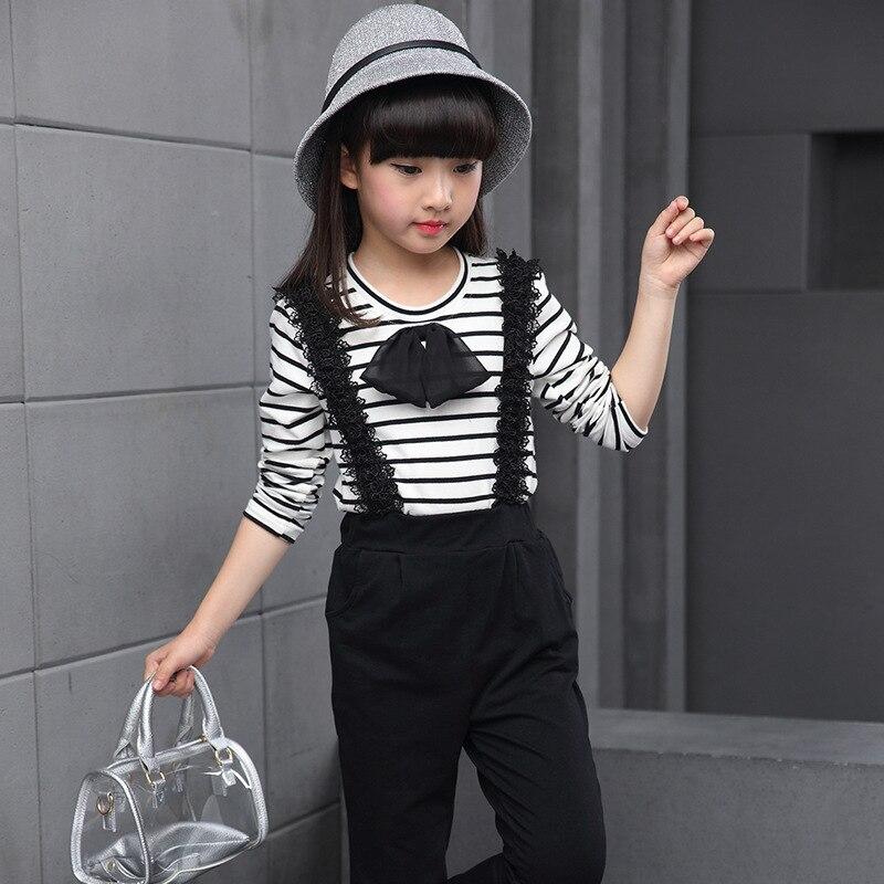 24f3aafb67e SOKOBX Girls Clothes Set Teenage Striped Shirt+ Jumpsuit 2 PCS Kids  Tracksuits Autumn Spring Kids Clothes For Girls 8 10 12 Year-in Clothing  Sets from ...