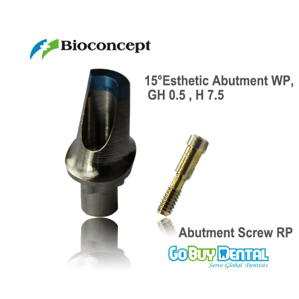 Nobel Compatible  Biocare Replace 15 ' Angled Esthetic Abutment WP, GH 0.5mm , H 7.5 (432382) : 91lifestyle