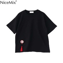 NiceMix Japanese Style T-shirt Women Embroidery Tee Female 2019 Summer Harajuku Plus Size Loose Cotton Tassel T Shirt Femme
