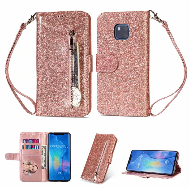 For <font><b>Huawei</b></font> P30 Plus P20 Mate 20 Lite 10 Pro Wallet PU Leather Silicone Glitter Card Slot <font><b>Flip</b></font> <font><b>Case</b></font> For Y6 Y7 <font><b>P</b></font> <font><b>Smart</b></font> Plus <font><b>2019</b></font> image