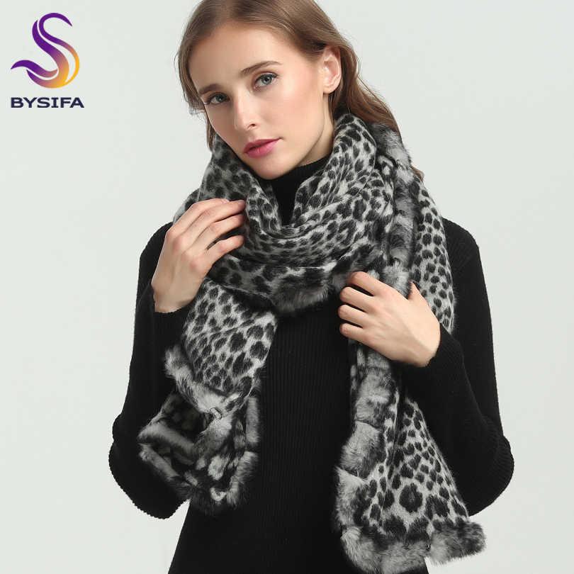 [BYSIFA] Для женщин черный, белый цвет с леопардовым принтом шерстяная шаль зимние осенние шарфы новый роскошный длинноворсовый мех кролика волос шарфы Pashimina