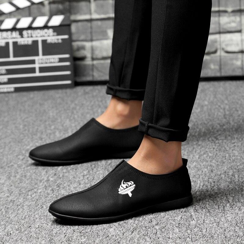 Respirant Hommes Plus Souples Black Marque white Cuir Slip on Décontractée Mode De En brown Mocassins Chaussures 3746 Conduite Taille Confortables dthrBxsQC