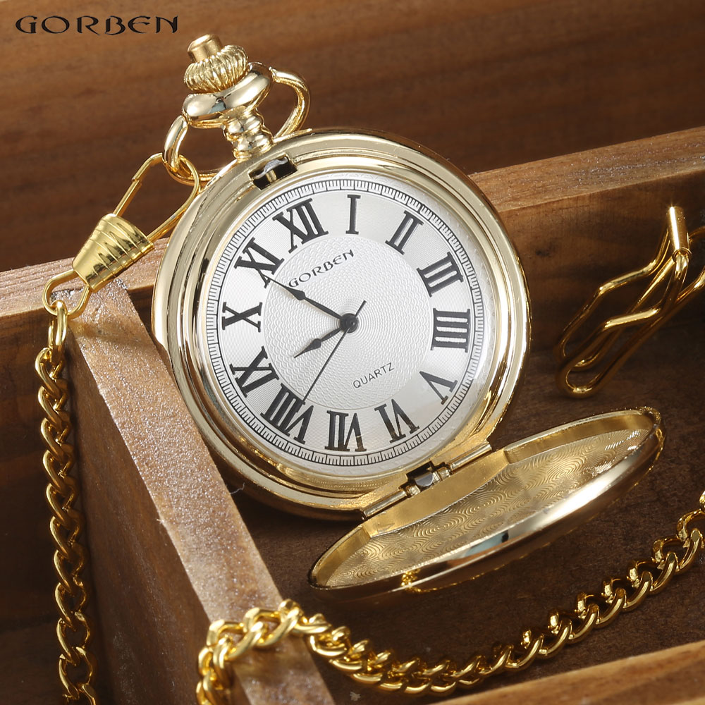 GORBEN Marca Clásico Reloj de Bolsillo de Cuarzo Para Hombres de Oro - Relojes de bolsillo - foto 3