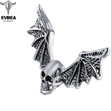 Smart Clay Defense Shocker Exaggerate Rock Roll Punk Wing Skull Adjustable Silver Couple Rings Men's Party Jewelry Accessories