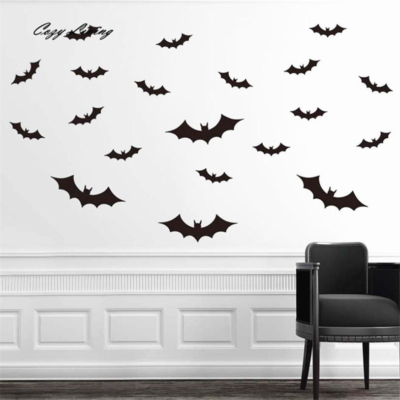 wall stickers diy pvc bat wall sticker decal home halloween decoration creative removable wallpaper home decor poster d9 - Halloween Window Decals