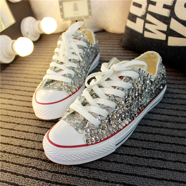 36b31d5a3160 2015 Wholesale price women glitter sneakers Red/silver/black women lace up  shoes bling bling sneakers free drop shipping