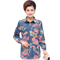 Middle Aged Woman Floral Denim Shirts Autumn Women Turn Down Collar Tops Mother Long Sleeve Jeans