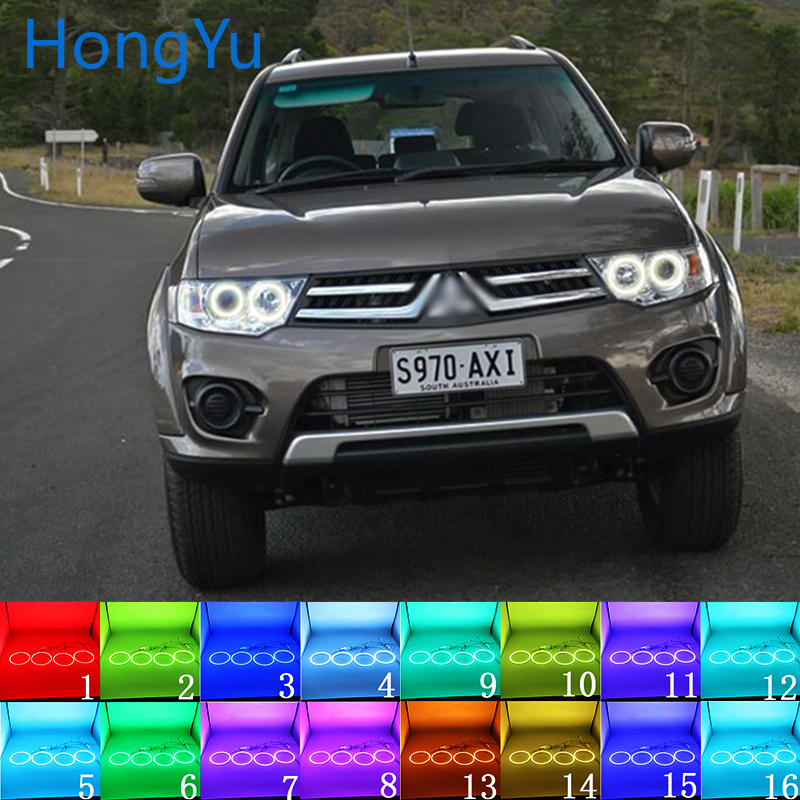 Multi color RGB LED Angel Eyes Halo Ring Eye DRL RF Remote Control for Mitsubishi Challenger Pajero Sport 2008 2014 Accessories