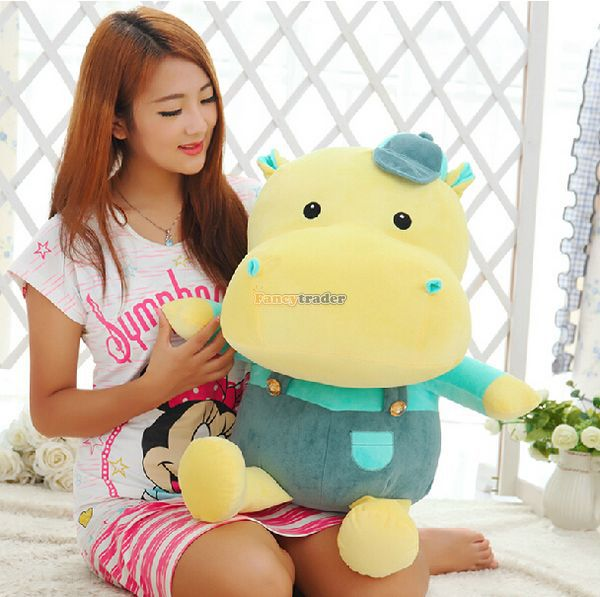 Fancytrader 37'' / 95 Cute Giant Stuffed Plush Braces Hippo Toy, 2 Colors Available! Nice Gift For Kids, Free Shipping FT50350 forest lion stuffed plush toy pencil case kids child coin bag gift free shipping