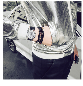 Image 5 - 2020 New Fashion Jacket Men Silver Shiny Fabric Hip hop Streetwear Slim Fit Stretch Stage Dance Clothing Plus Size