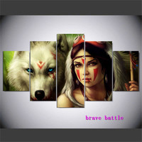 Native American Girl Canvas Painting Living Room Home Decor Modern Mural Art Oil Painting