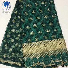 Beautifical 5Yards african lace fabrics Latest style embroidery tulle mesh fabric with stones nigerian 5yards PN119