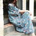 Jn008 mujeres ropa de primavera verano 2016 China flor y del pájaro impresión de algodón y lino del vintage maxi robe vestido vestidos tallas grandes