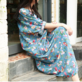 Mulheres verão 2016 de JN008 e de impressão de algodão e linho vintage maxi vestido vestido vestidos plus size