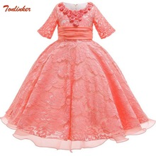 Princess Girls Gown Party Dresses Childrens Elegant Lace Costumes For Flowers Wedding Dress 2019 New Girl Vestido