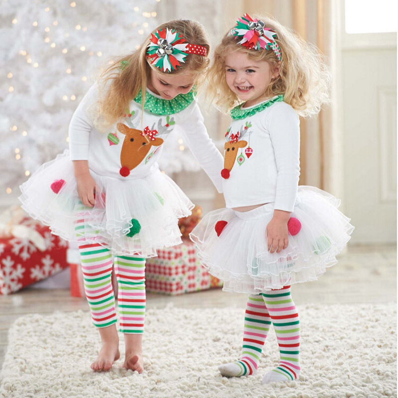 Children Christmas Clothing Reindeer Tops Red White Green Striped Layered Tutu Skirt Pants Girls Christmas Clothes Deer Outfit 2015 elegant baby girls christmas reindeer top tutu tulle skirt pants 2 pc outfit set children christmas clothing