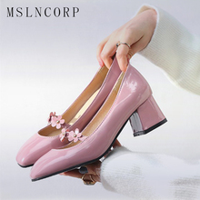 Plus Size 34-47 Fashion Sexy Patent Leather Wedding High Heel Shoes Women Flower Beading Square Toe Thick Heel Mary Jane Pumps цена в Москве и Питере