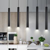 LED Modern Pendant Lights Long tube Black Pendant Lamp Island Bar Counte Shop Room Kitchen light fixtures Kitchen Lamp
