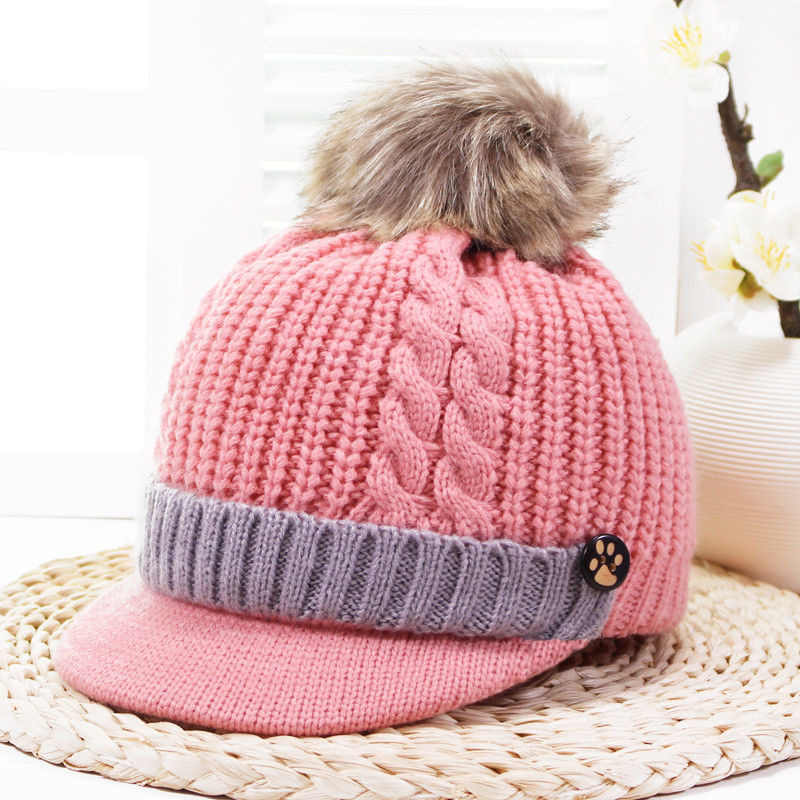 c9819d7f27346 2018 Brand New Thick Newborn Baby Girls Boys Infant Knitted Hat Furry Ball  Cute Caps Winter