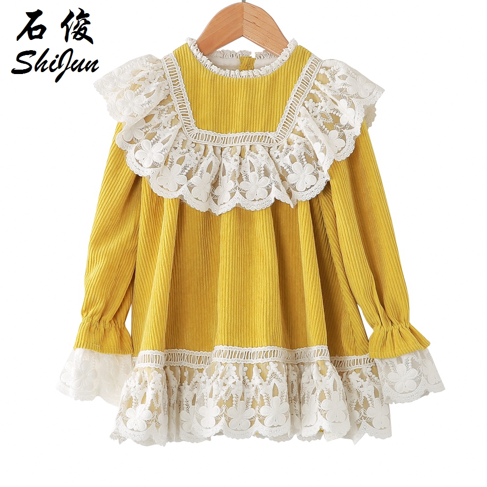 Shijun Kids Frock Designs 2019 Sweet Yellow Lace Corduroy Baby Girl Dress On -5533
