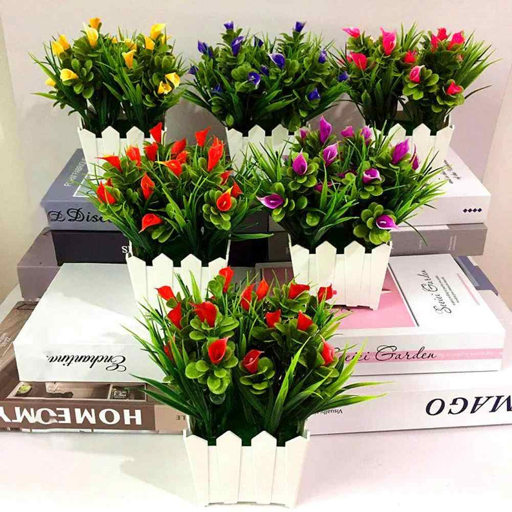 1Pc Artificial Flower Callalily Potted Bonsai Living Room Office Garden Decor