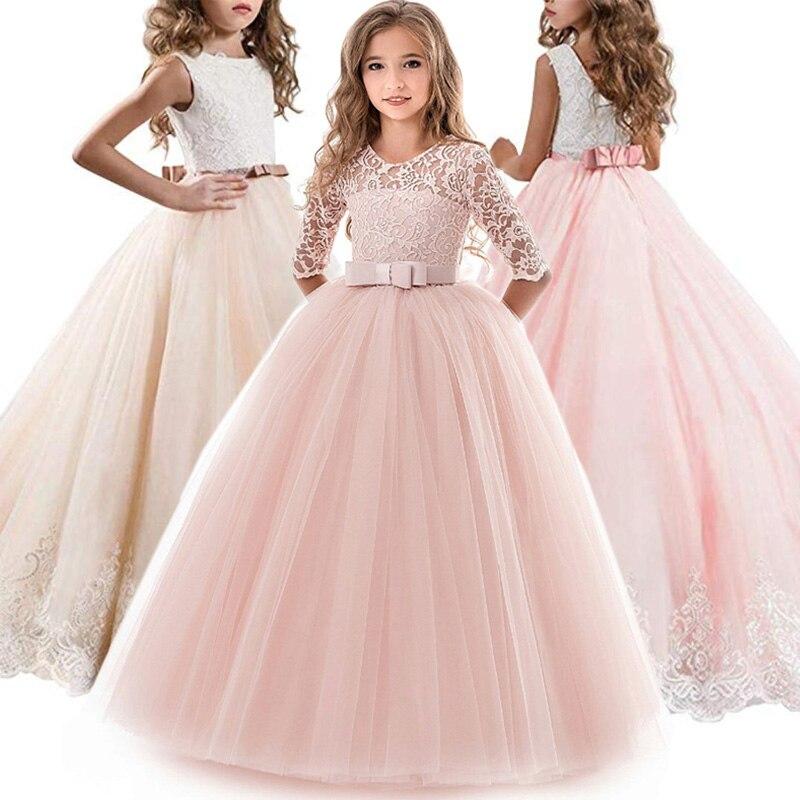 Teens Girls Princess Dress Children Evening Party Dress Flower Girls Wedding Gown Kids Dresses For Girls Costume 8 10 12 14 Year Платье