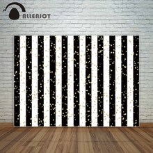 Allenjoy party photography backdrops stripe black white golden sequin birthday for photo background vinyl