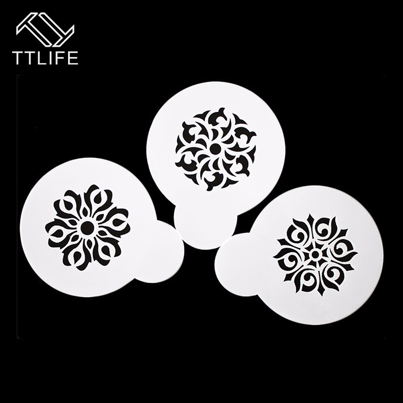 TTLIFE 3pc Garland Mold Fancy Coffee Printing Model Coffee Art Stencil Cafe Foam Spray Cake Duster Template Barista Carving Tool