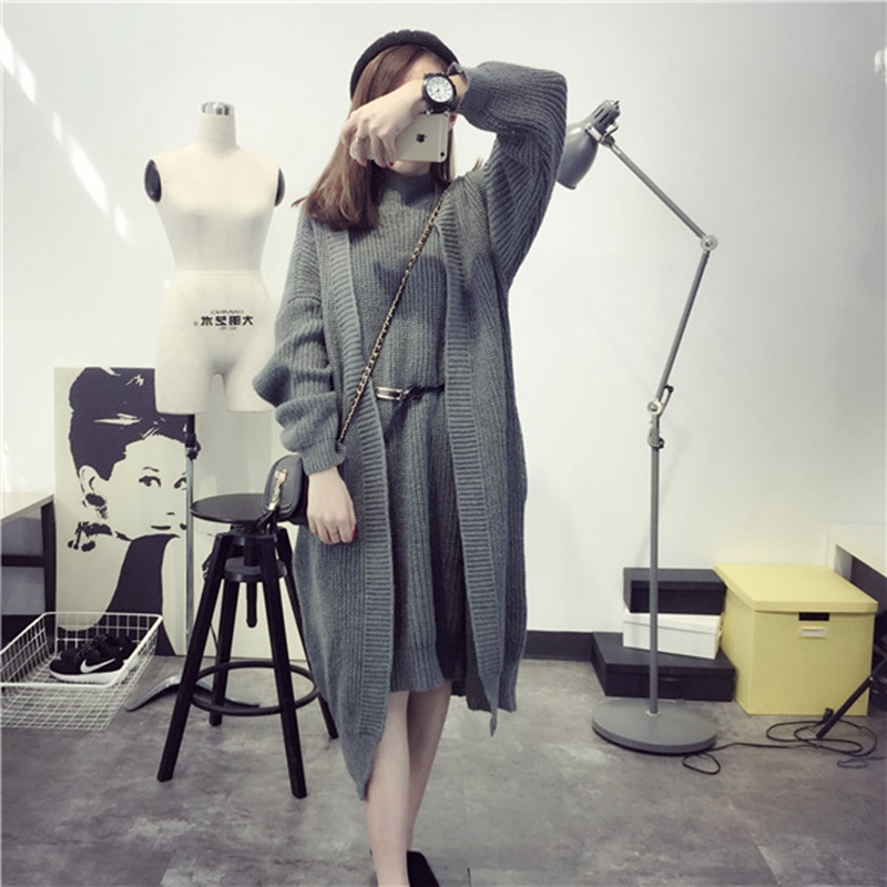 2016 autumn long cardigan women cardigan and turtleneck sweater feminine Two piece suit gilet femme manche longue pull feminine
