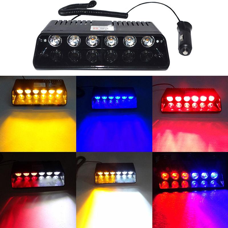 CYAN SOL BAY 6 LED Lumière Stroboscopique Visor Dashboard Pare-Brise D'urgence Avertissement 6 W Lampe Ambre Jaune Bleu Rouge Blanc clignotant