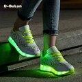 D-булун Chaussure Светящиеся Обувь USB Зарядки Люминесцентная Корзина Светодиодная Вспышка изменение Цвета Лампы Разбиты Красивые Кроссовки