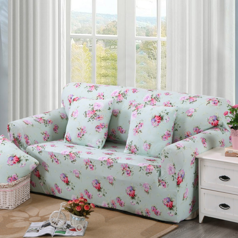 Flower Pattern Sectional Couch Covers L Shaped Sofa Cover Elastic Universal Wrap The Entire