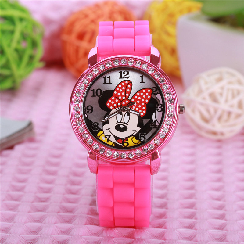 2018 New Fashion Minnie Girls Ladies Women Crystal Watch Kids Children Cartoon Silicone Sport Watches 1pcs