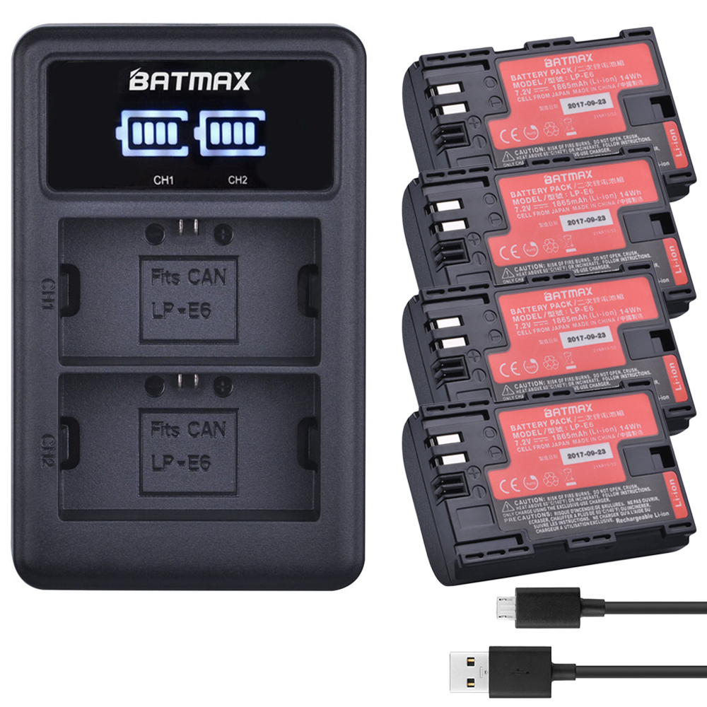 4 unids LP-E6 LP E6 LPE6N Cámara batería akku Japón Sanyo + LED cargador dual del USB para Canon EOS 5DS R 5D Mark II 5D 6D 7D 80D
