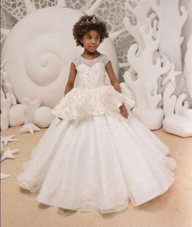 New Flower Girl Dresses Lace Up Pearls Ball Gown First Communion Dress for Girls Customized Vestidos Longo Size 2-16Y lovely pink ball gown short flower girl dresses 2018 beaded pearls first communion dresses for girls pageant dress