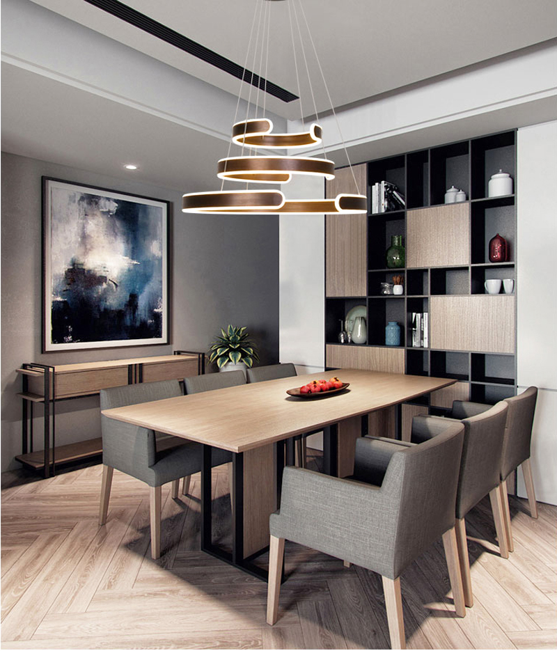 AC90-264VModern pendant lights for living room dining room Geometry Circle Rings acrylic aluminum body LED Lighting ceiling Lamp
