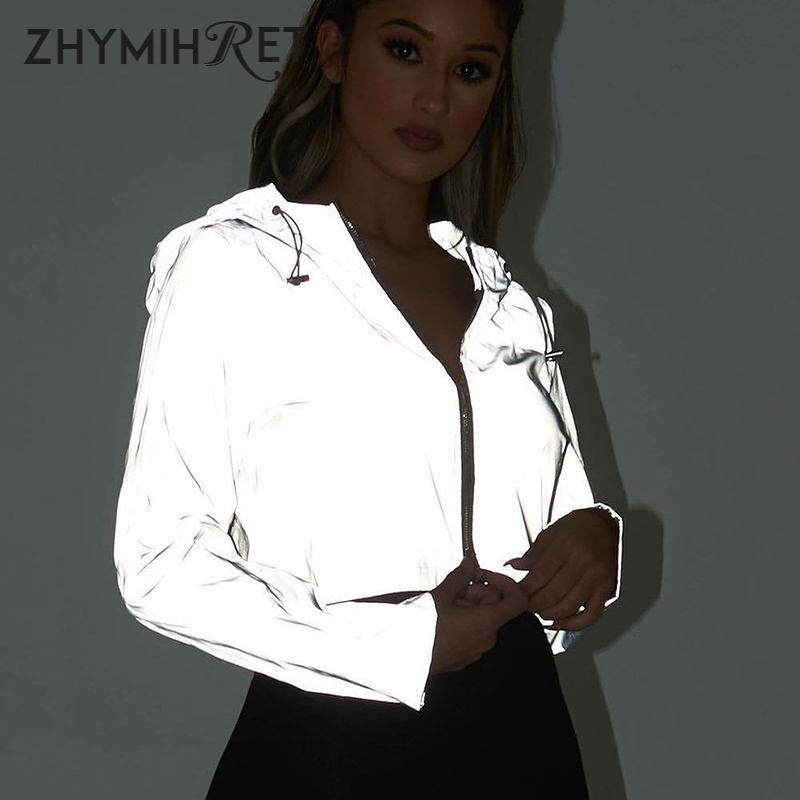 ZHYMIHRET 2019 Spring New Reflective Female Jacket Casual Sport Hooded Short Coat Women Crop Top Casaco Feminino Manteau Femme