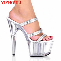 Professional pole dancing fashion sexy shoes 15cm high heeled/sandals white crystal Slippers