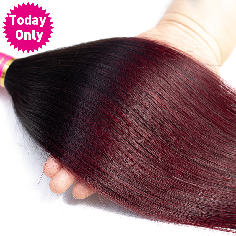 TODAY ONLY Malaysian Straight Hair 4 Bundles With Closure Burgundy Bundles With Closure Remy Human Hair Bundles With Closure