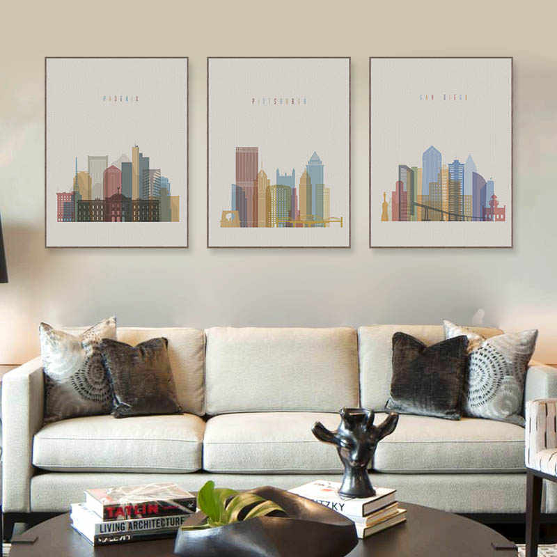 Modern Abstract World City Paris London Posters Prints Big Wall Art Picture Vintage Retro Living Room Home Decor Canvas Painting
