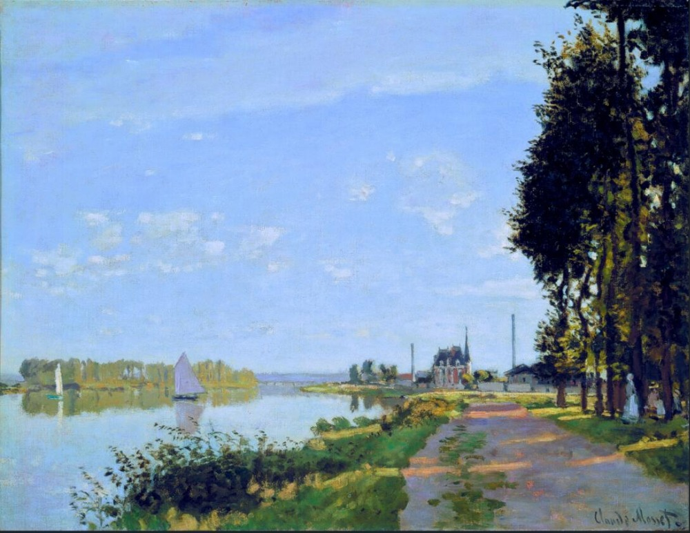 High quality Oil painting Canvas Reproductions The Promenade at Argenteuil (1872) By Claude Monet hand painted